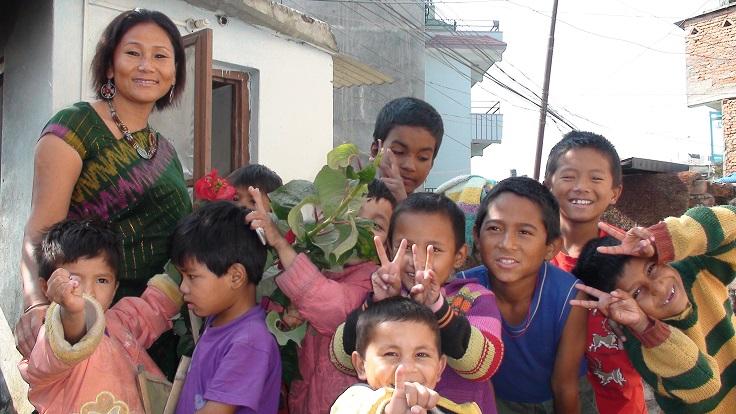 Indira Ranamagar with her children